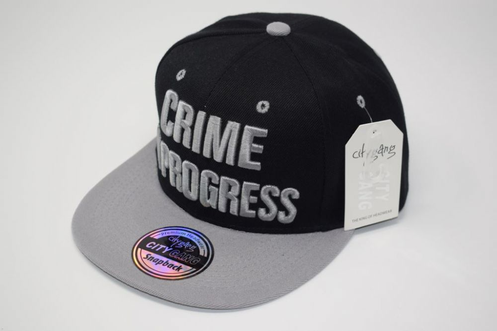 C4888- 'CRIME IN PROGRESS' Black/Grey Snapback Cap one size fits all adjustable